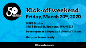 2020 Slam Kick-off Weekend, Friday March 20th, KSPS Studio, 3911 S Regal St, Spokane, WA 99223, Doors open at 6:30 pm and close at 7:15 pm